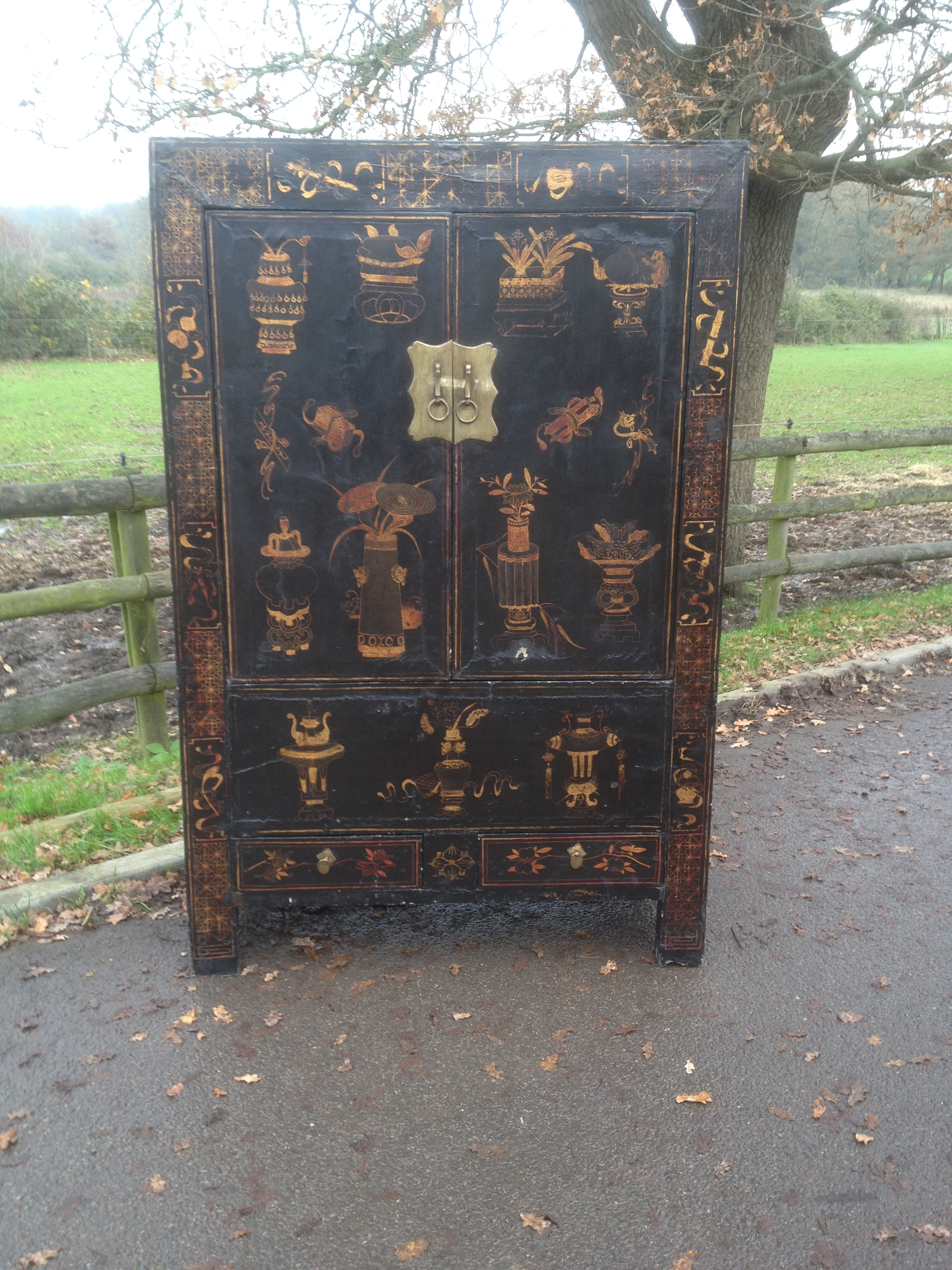 Antique Chinese Black Lacquer Cabinet Gilt Painting Shanxi Province C1890