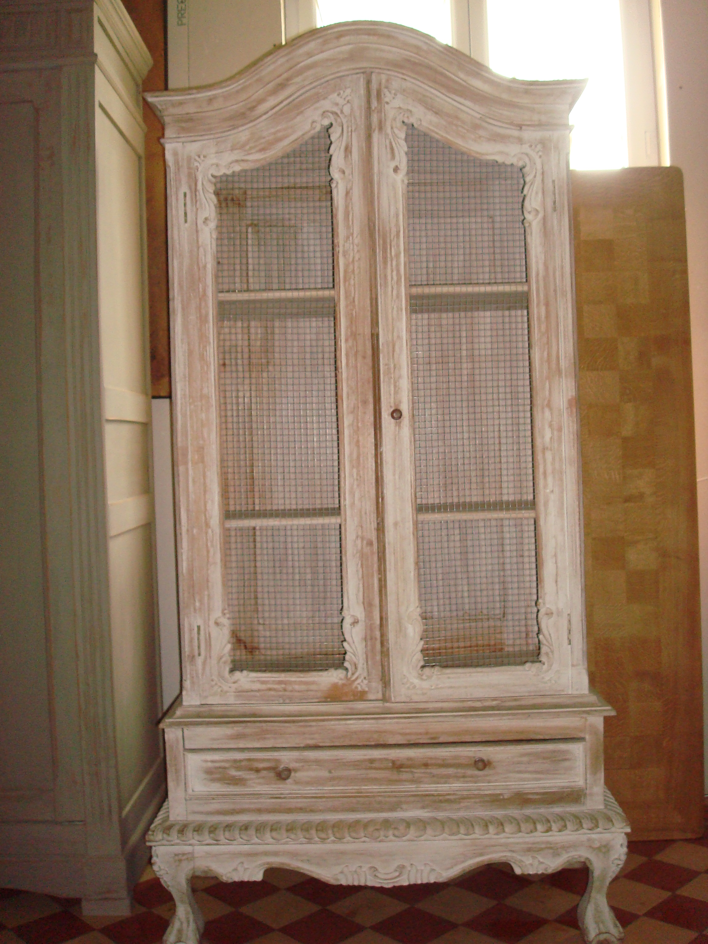 French Distressed Hardwood Display Cabinet With Chicken Wire French  Furniture